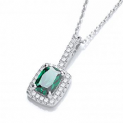 "J-Jaz Micro Pave' Fancy Pendant Green Small Cz with 18"" Chain"